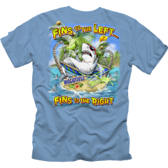 Fins To The Left Tee - Sky Blue
